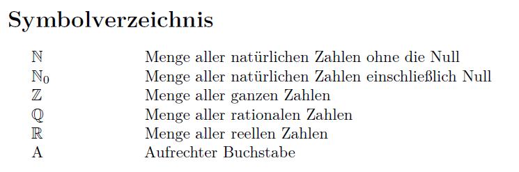 Listofsymbols Symbolverzeichnis Mit Latex